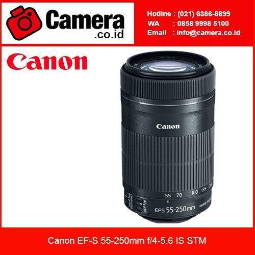Canon EF-S 55-250mm f/4-5.6 IS STM Lensa Kamera - Hitam