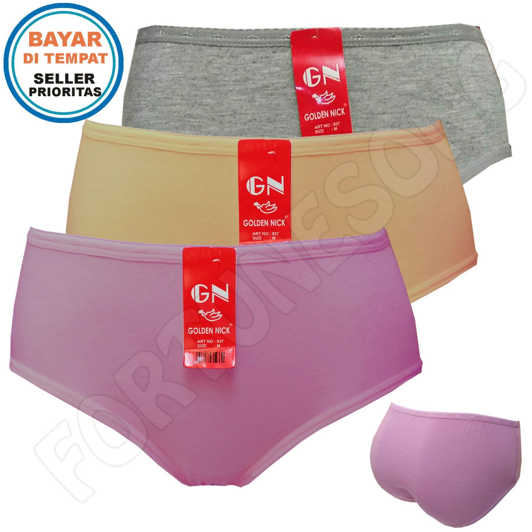 Celana Dalam Wanita Boxer Pria Import Super Soft 3pcs Golden Nick Harga Grosir Multicolor