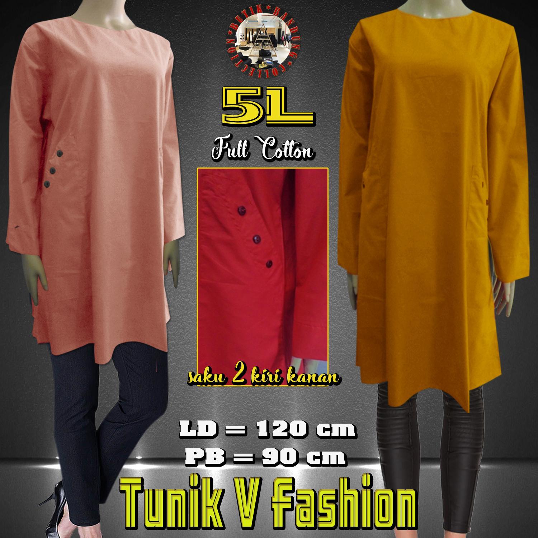Baju Atasan Wanita / Tunik Katun Paris V Fashion (5L Jumbo)