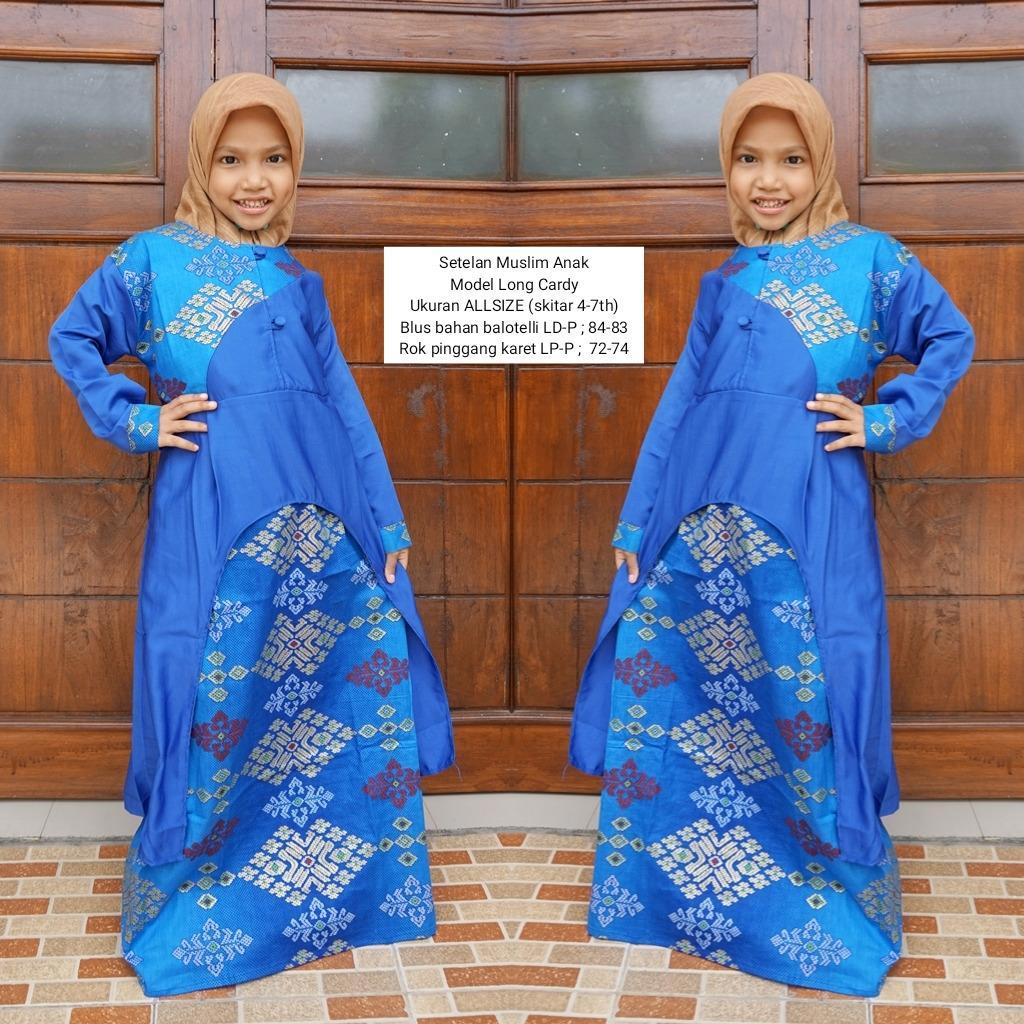 gamis batik anak bahan katun motif pra da warna Biru BAC22