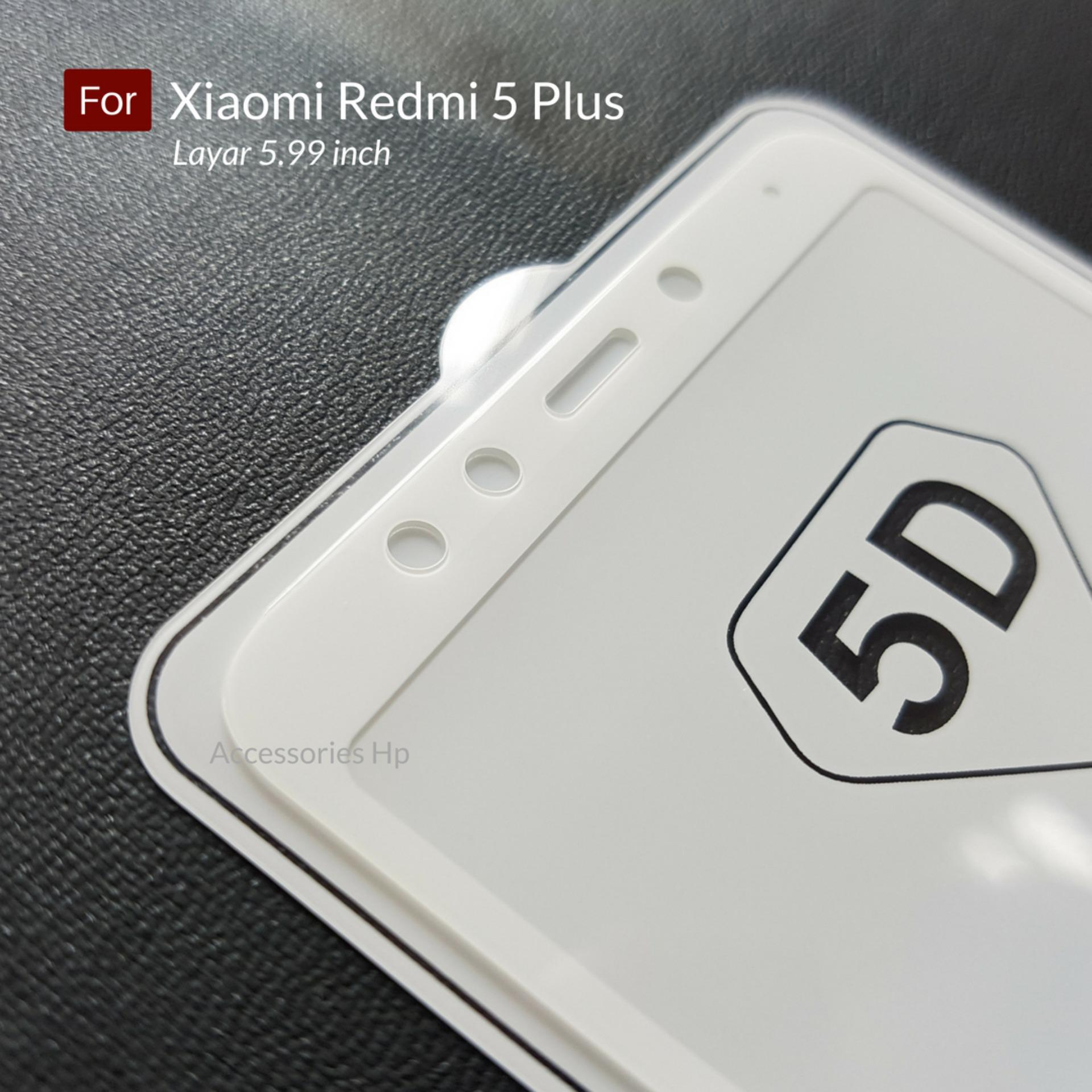 Ambigo Premium Tempered Glass 5D Full Cover Anti Gores Warna Kaca Full Lem For Xiaomi Redmi