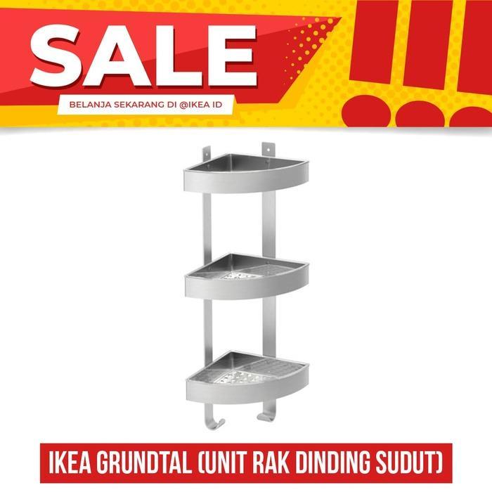Rak Kamar mandi rak dinding sudut, stainless steel, IKEA GRUNDTAL