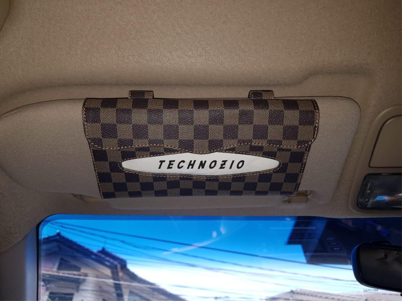 TECHNOZIO Tissue Sunvisor / Tempat Tissue Mobil Motif Coklat Skak