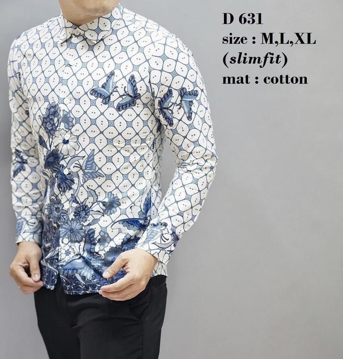 Baju Pria Batik Lengan Panjang Slim Fit Elegan D631 TERLARIS