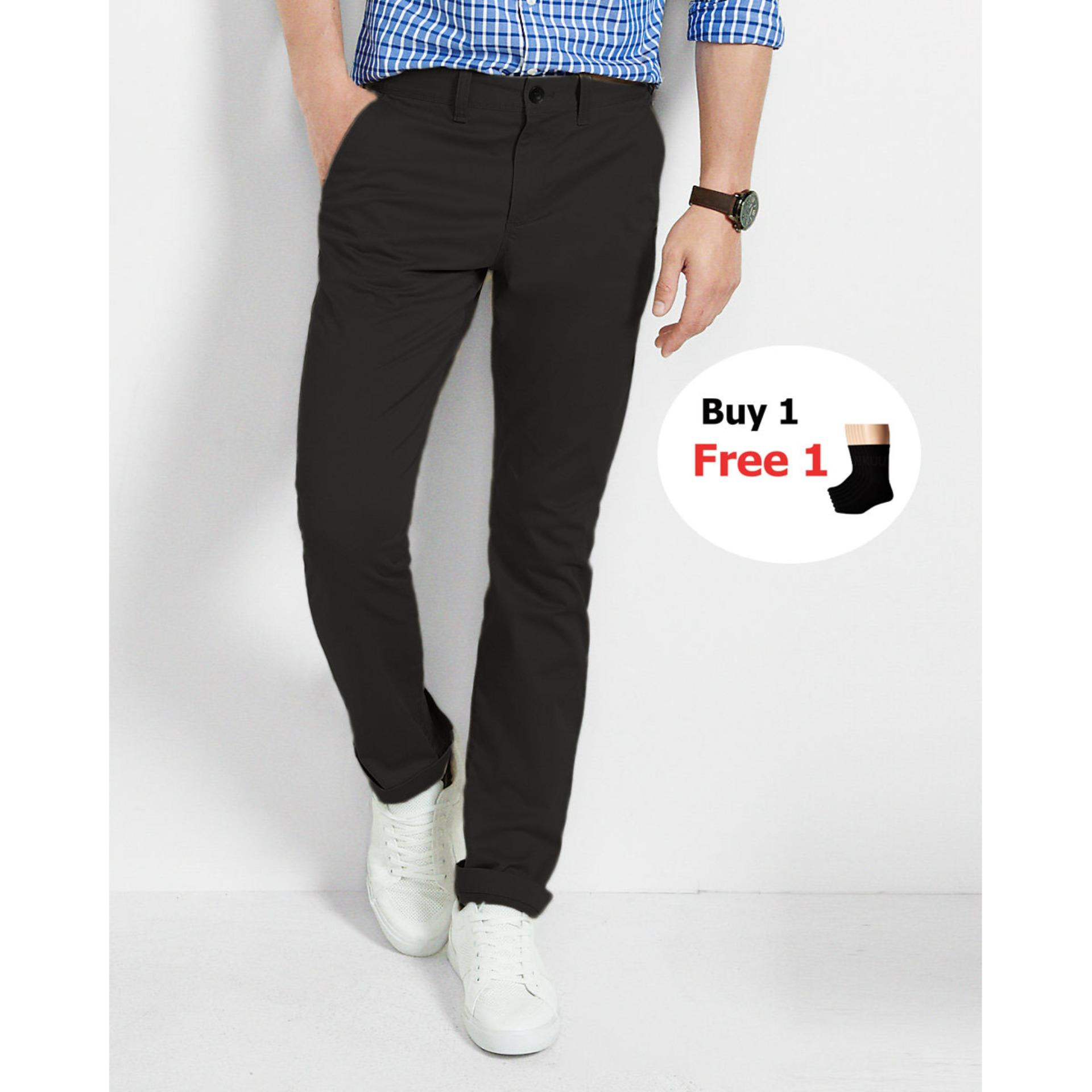 CHINO PANJANG SLIMFIT WR HITAM HIGH QUALITY