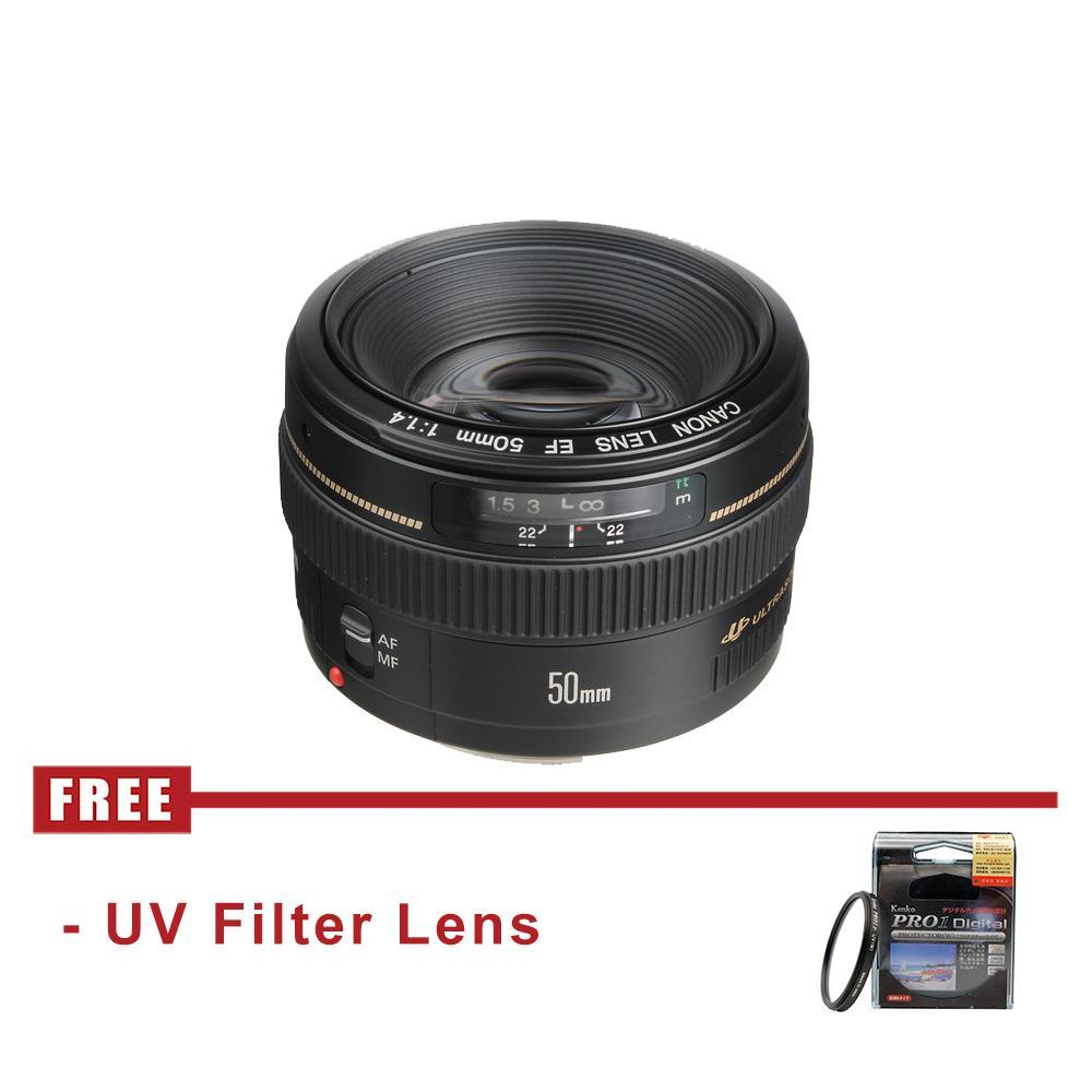 Lensa Canon EF 50mm f1.4 USM Lens - FREE UV Filter