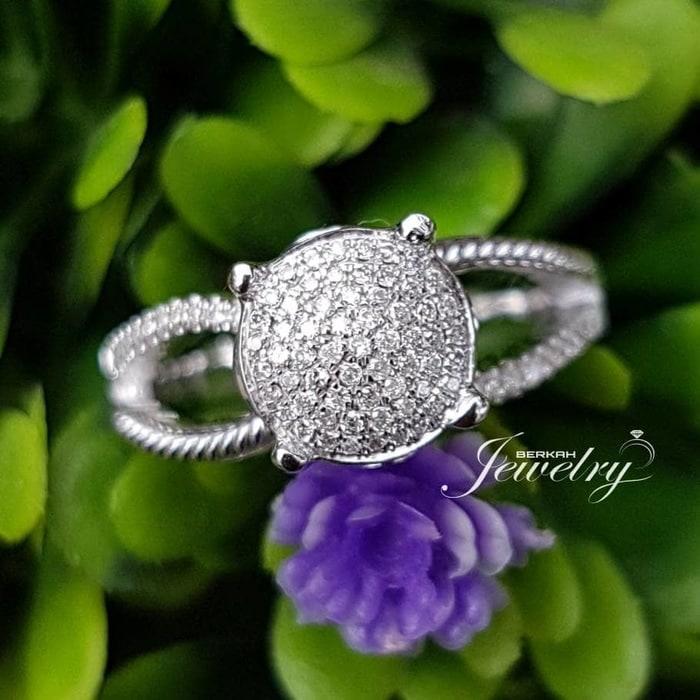 Cincin Emas Putih Wanita Berlian Natural Diamond Nikah Kawin Tunangan.
