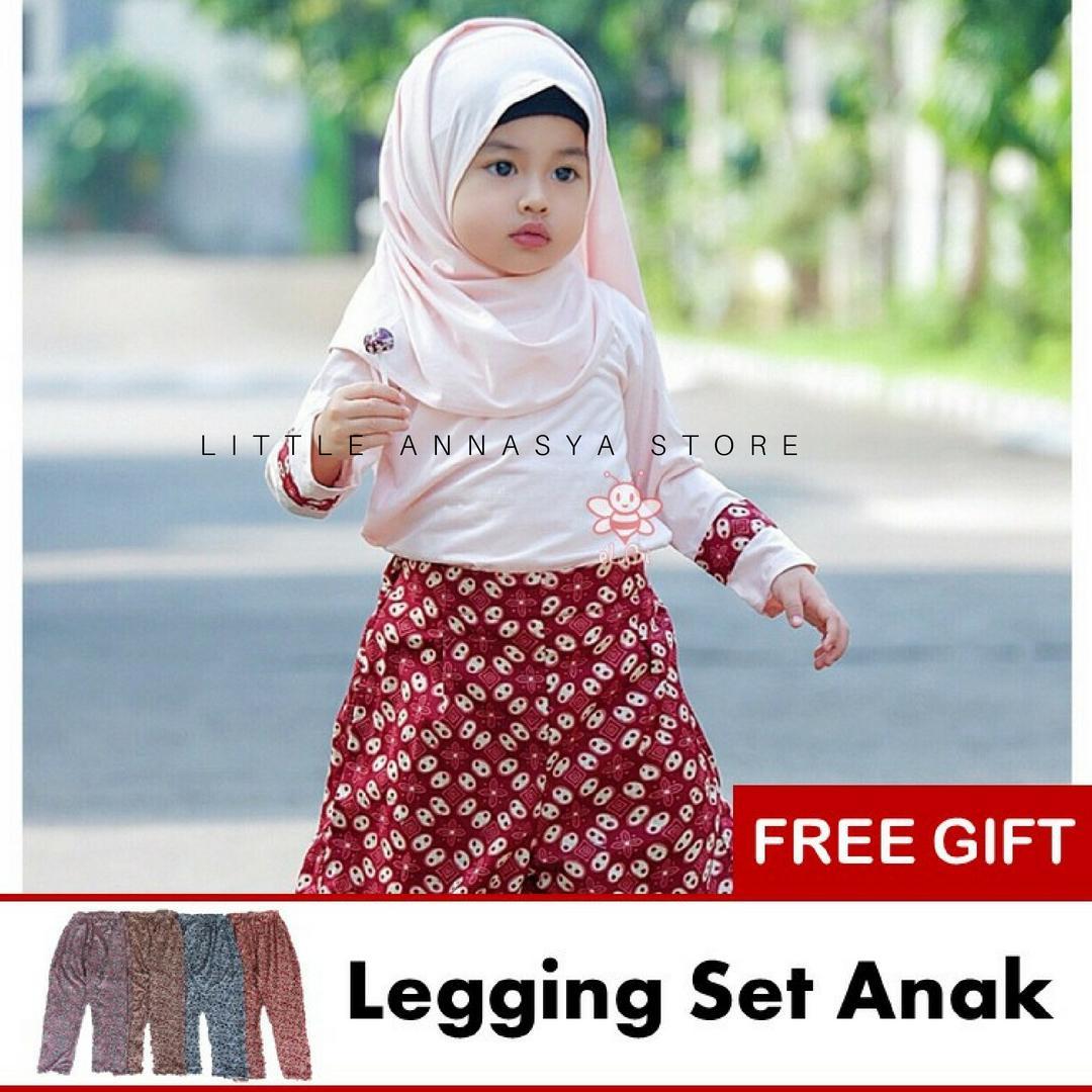 eLBi - Baju Muslim Anak Perempuan / Baju Muslim Balita Perempuan / Gamis Anak / Baju Muslim Anak / Baju Muslim Bayi Perempuan / Baju Pesta Anak Muslim / Hana Jasmine Series