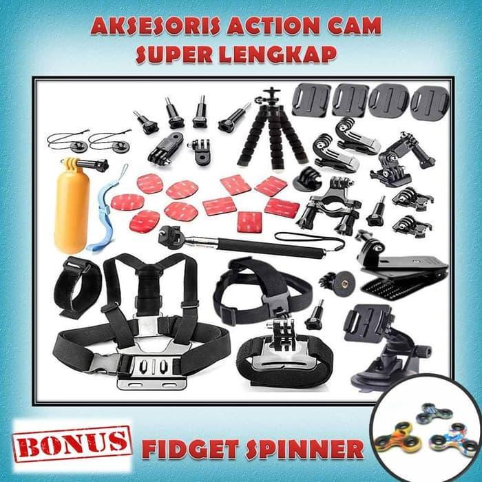 Ready! Aksesoris Lengkap Full Set For Action Cam Xiaomi Yi Gopro Brica Sjcam - ready stock