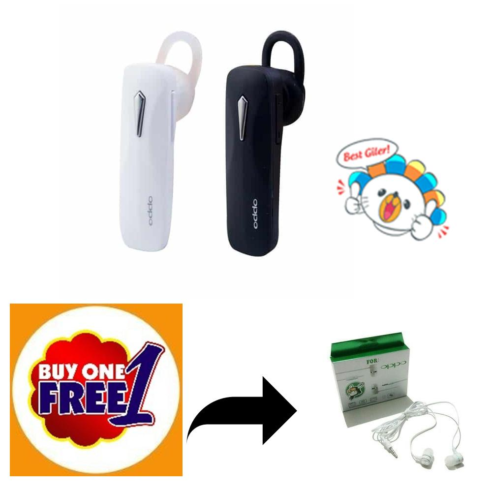 (BUY 1 FREE 1) OPPO Headset Bluetooth 4.1 Mega Bass Handsfree Sound Only Excellent Sound Quality With Mic - Putih FREE Handsfree OPPO R11