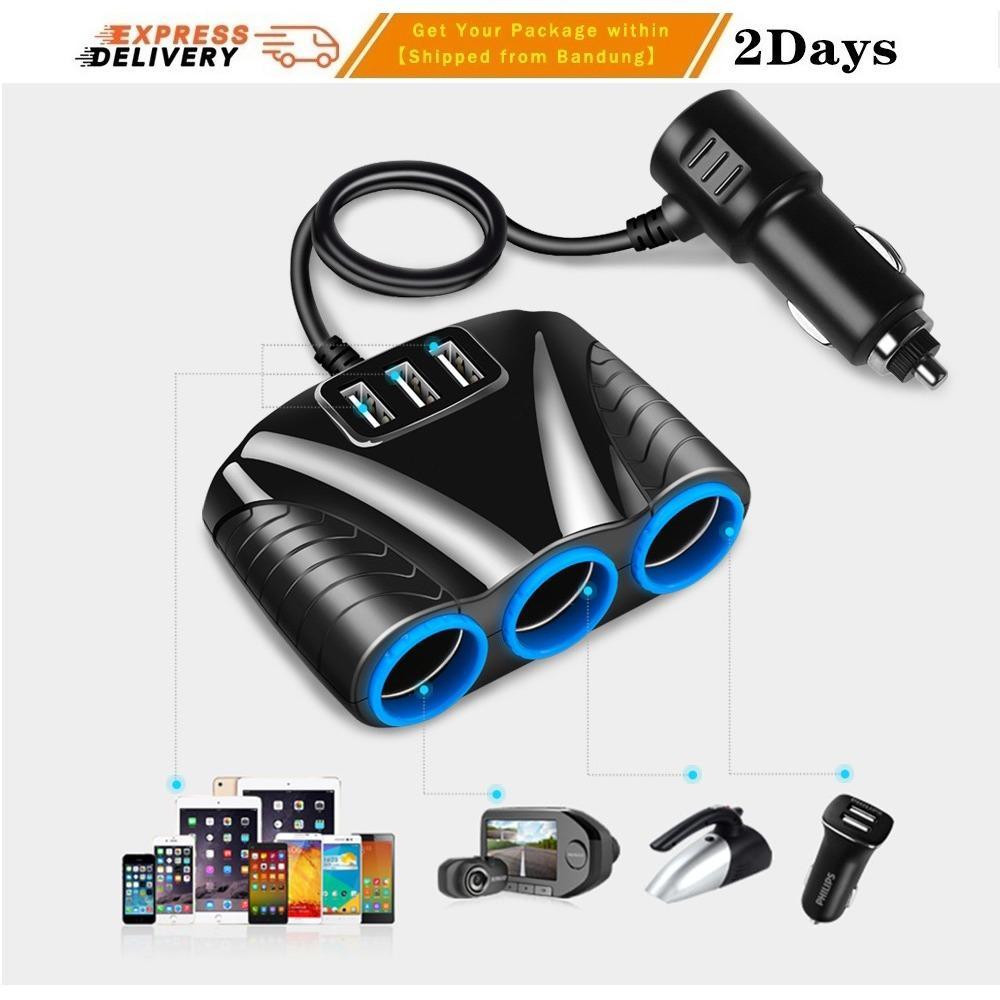 Charger Mobil 3 Soket Lighter Lighter Socket 3 USB 12V-24V Kecepatan Tinggi untuk HP tipe Samsung Iphone Ipad OPPO Xiaomi Huawei GPS