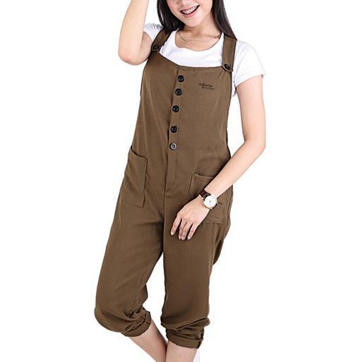 COD Baju Overall Wanita Dress Jumpsuit Bahan Cotton Panjang Ukuran S ~ XL Coklat