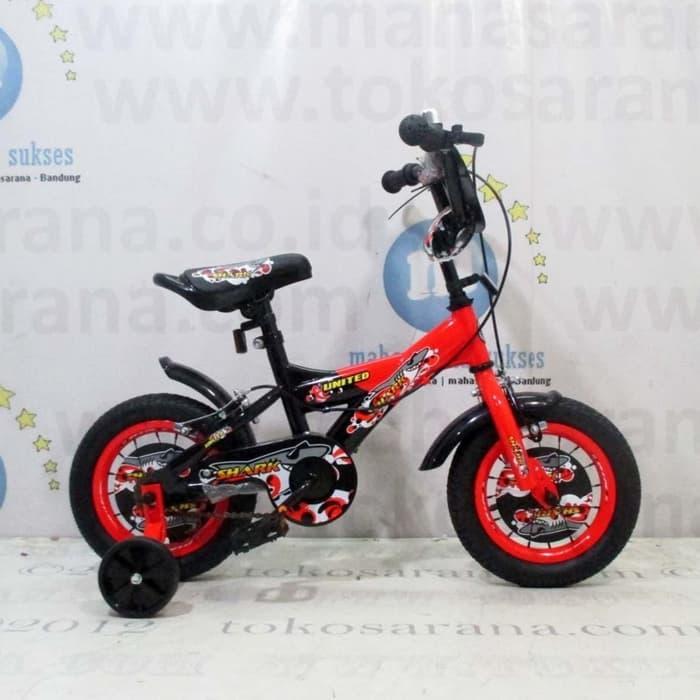 Promo    12in United Shark BMX Sepeda Anak Laki-Laki Usia 2 - 4 Tahun    Termurah