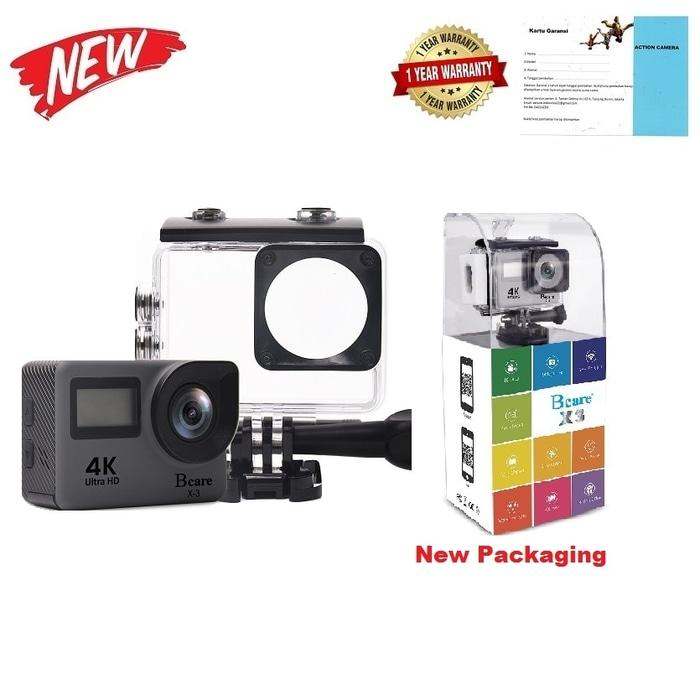 Bcare BCam X-3 Action Camera WiFi 16 MP SonySensor 4K DUALSCREEN Grey Terlaris di Lazada