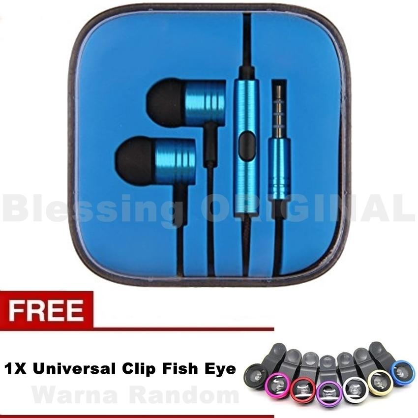 Blessing - BO-P2 hensfree compatible for hp xiaomi headset piston 2 henset for android  + FREE Universal Clip Fish Eye
