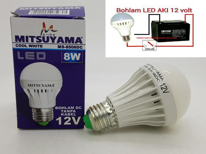 ORIGINAL - Merk MITSUYAMA 8W E27 LAMPU LED 12V DC LED ( LAMPU SOLAR CELL )