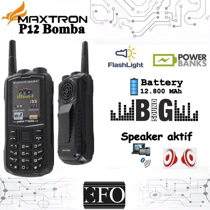 Hp Maxtron P12 BOMBA Bluetooth Speaker Doble Torch Big Speaker 12800 mAh