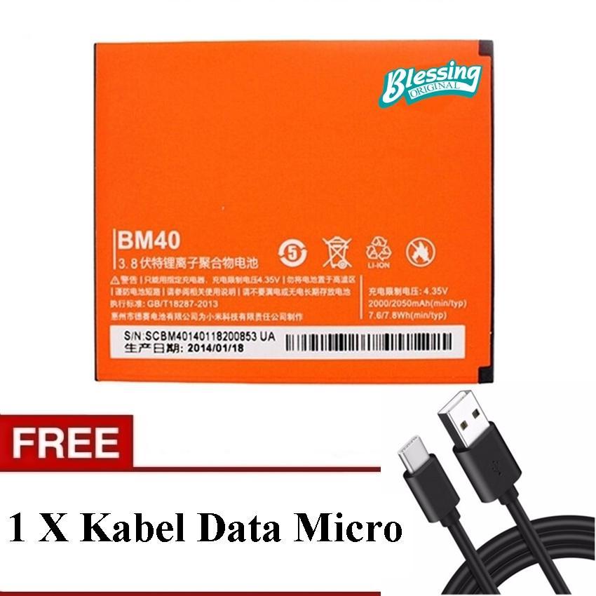 Baterai Blessing BO-X40 Compatible for xiaomi baterai xiaomi RedMI 2 - Mi 2A 2080mAh baterai oem baterai bm40 baterai hp - Free Kabel Data Type Micro