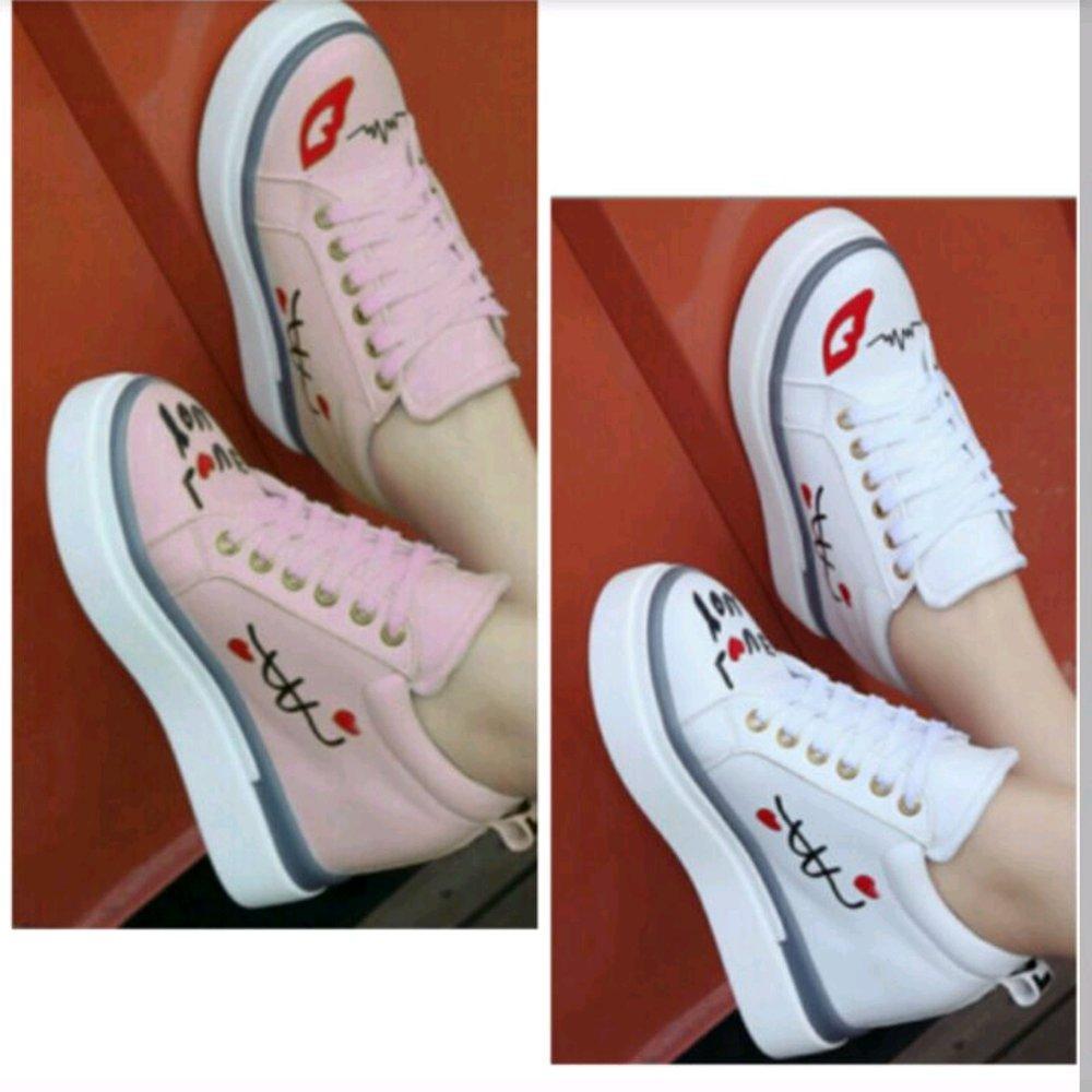 Sepatu Kets Wanita Boots Love You Pink DN03