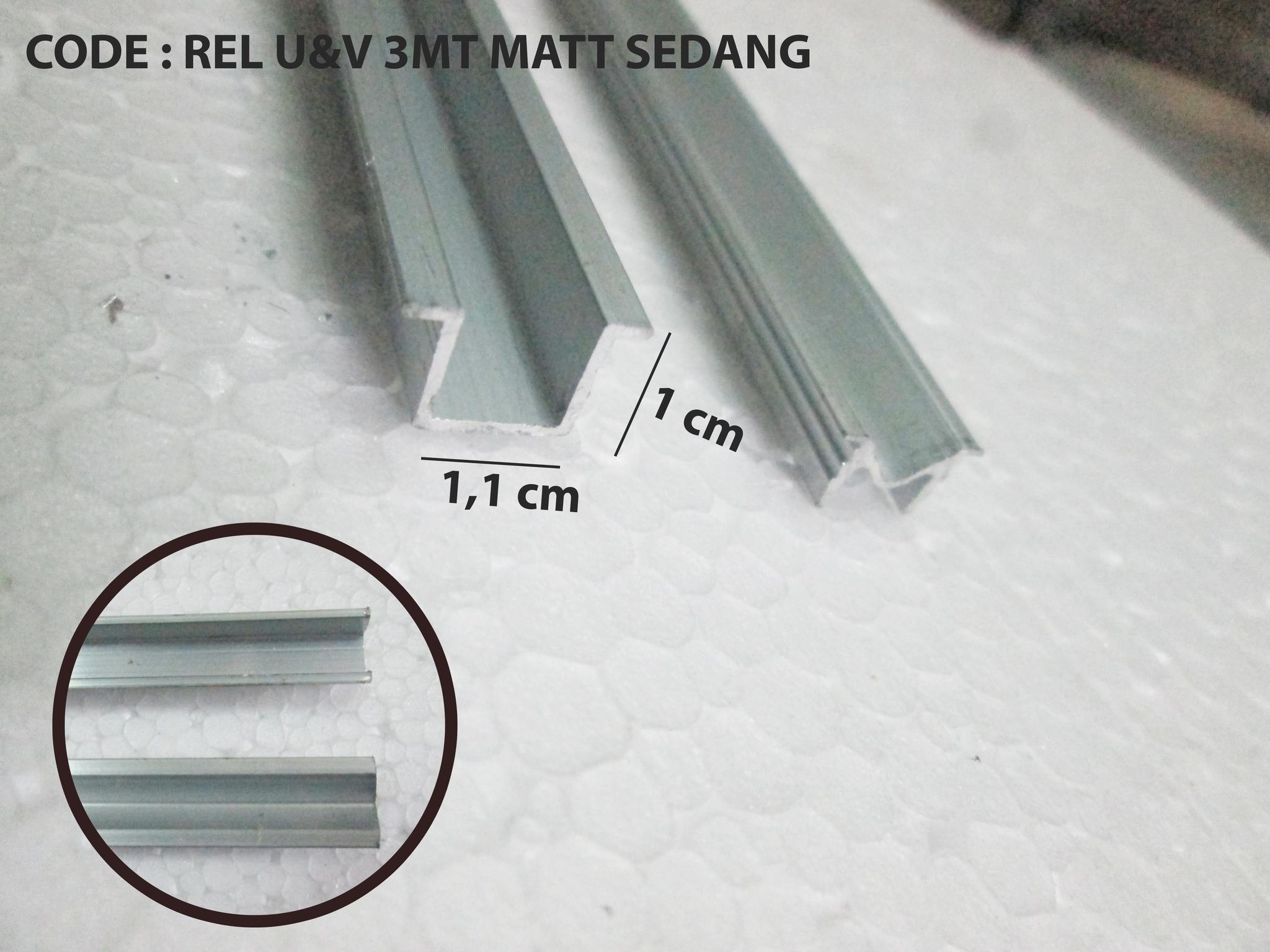 rel sliding lemari / rel pintu geser / rel u&v sedang 3mt aluminium NEW