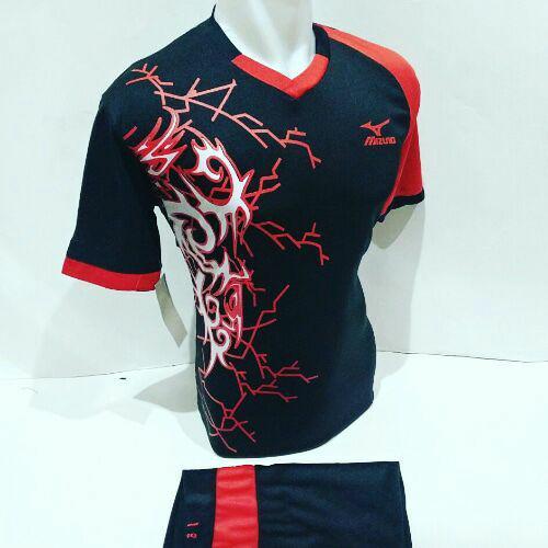 [BEST SELLER MZ 04] Baju Volly Jersey Olahraga Futsal Kaos Bola Setelan Voli Mizuno Hitam Merah