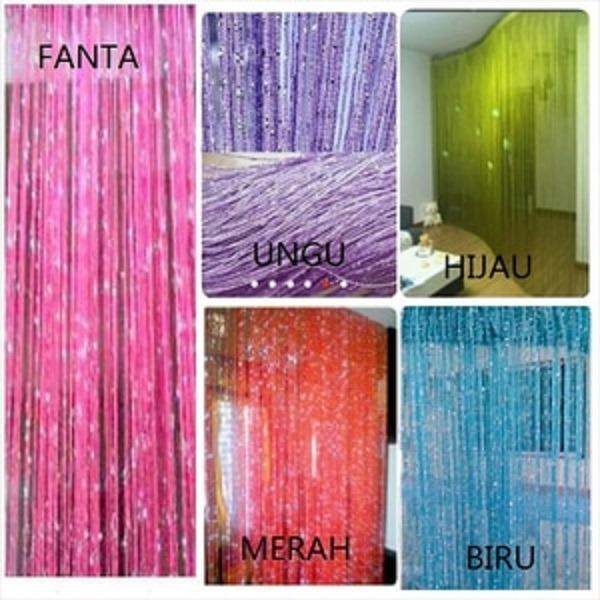 Tirai Benang Gliter Pintu / Jendela - warna Fanta