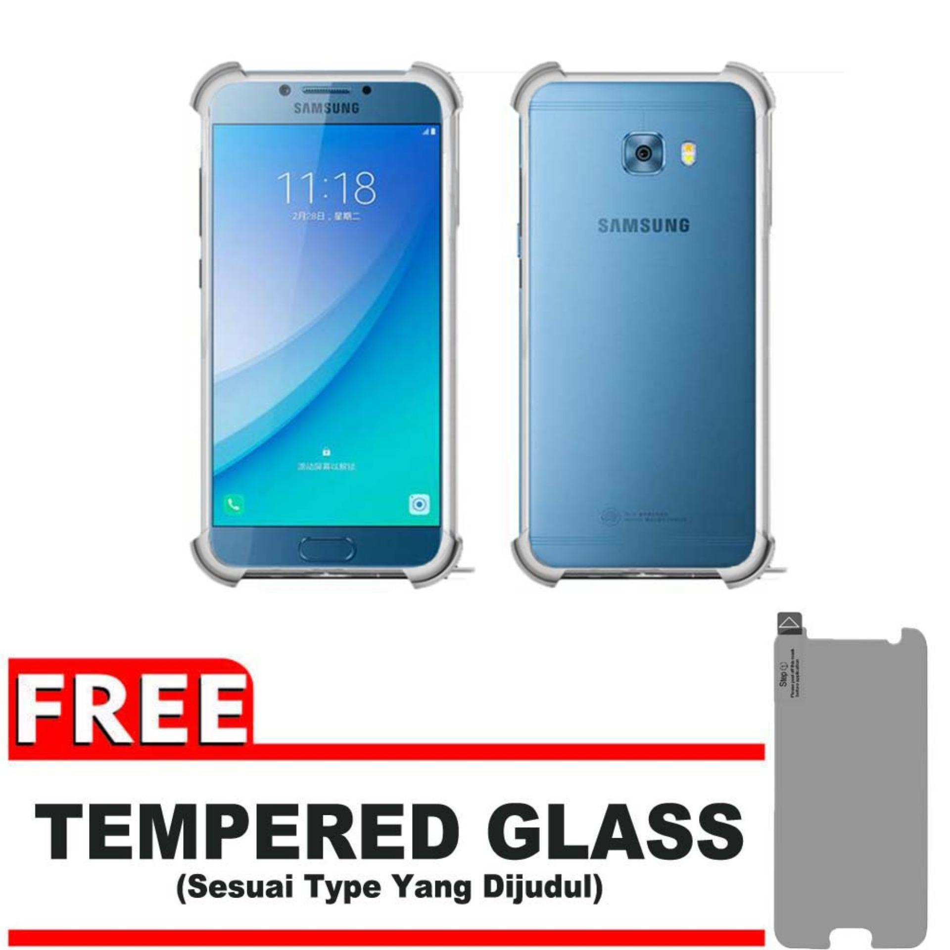 ShockCase for Samsung Galaxy C5 Pro / 4G LTE / Duos | Premium Softcase Jelly Anti Crack Shockproof - Gratis Free Tempered Glass Protector - Transparan