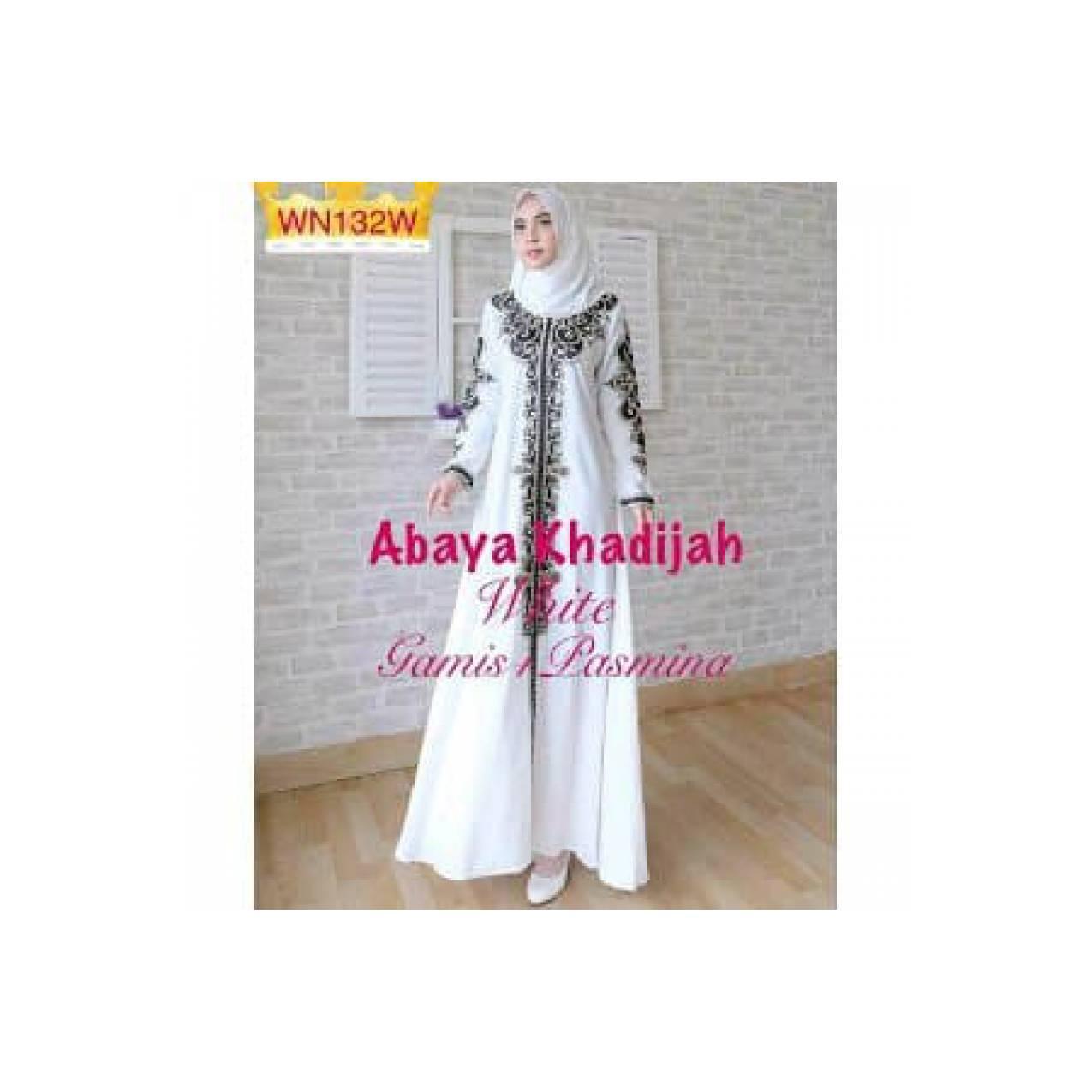 abaya gamis syari white. baju muslim putih khadijah PROMO