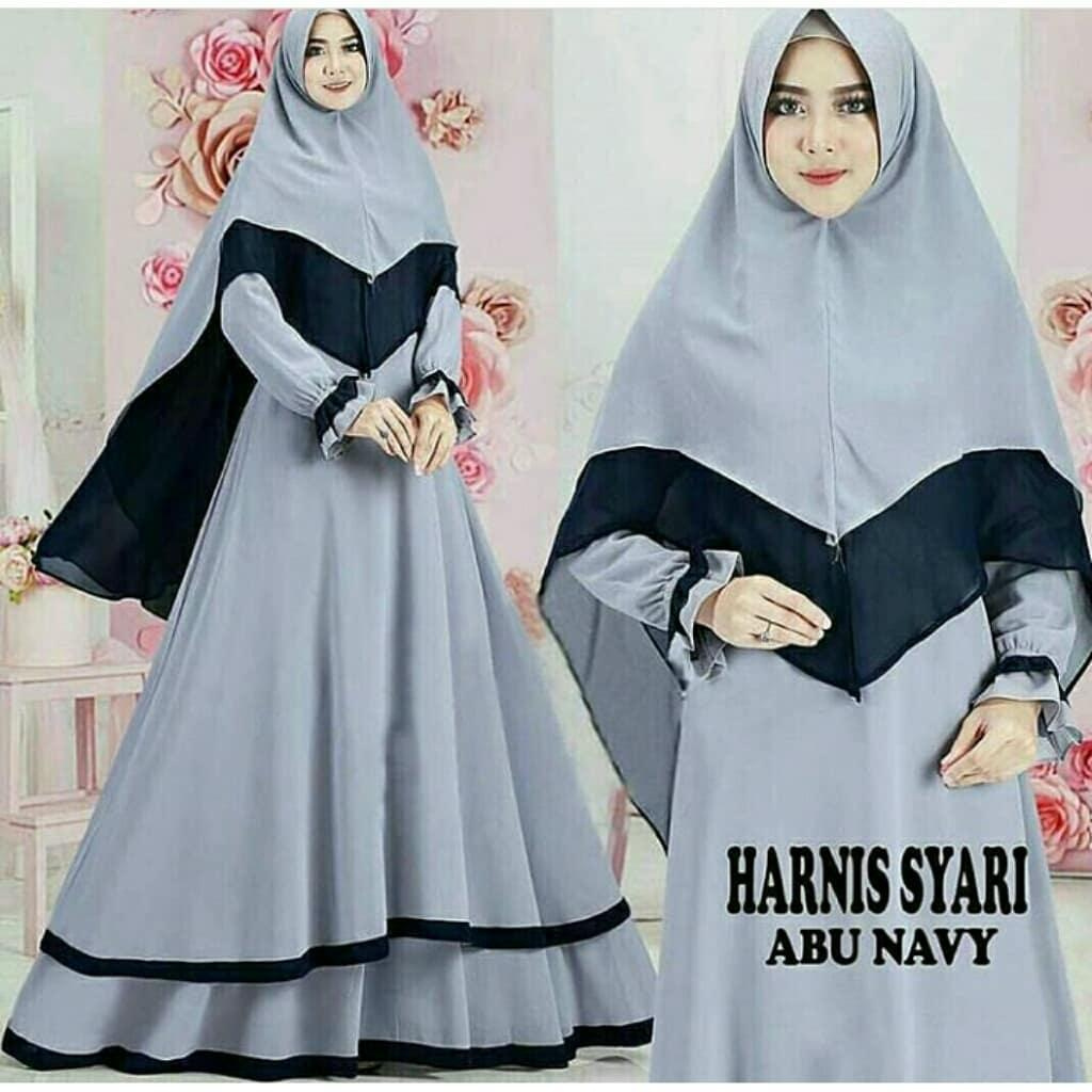 Baju Muslim Original Gamis Harnis Syari Dress + Kerudung WallyCrepe Baju Panjang Muslim Dress Casual Wanita Pakaian Muslim Wanita Pakaian Hijab Modern Baju Gaun Pesta Modis Trendy Terbaru 2018