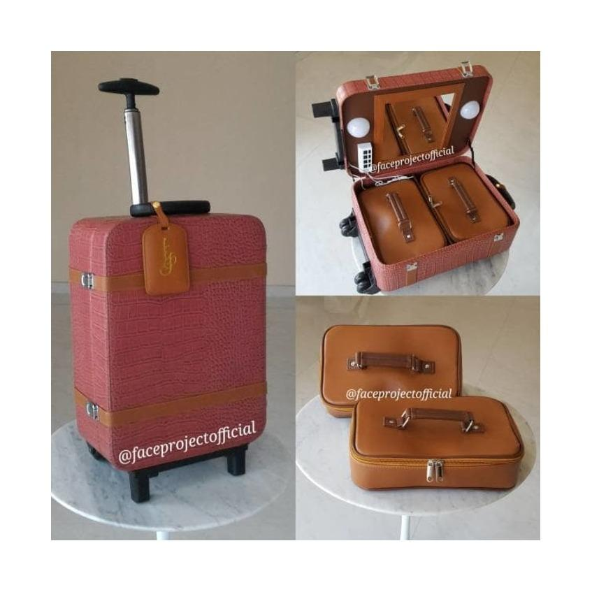Koper Make Up / Beauty Case Makeup / Kotak Rias / Tas Kosmetik Box Trolley Rose pink