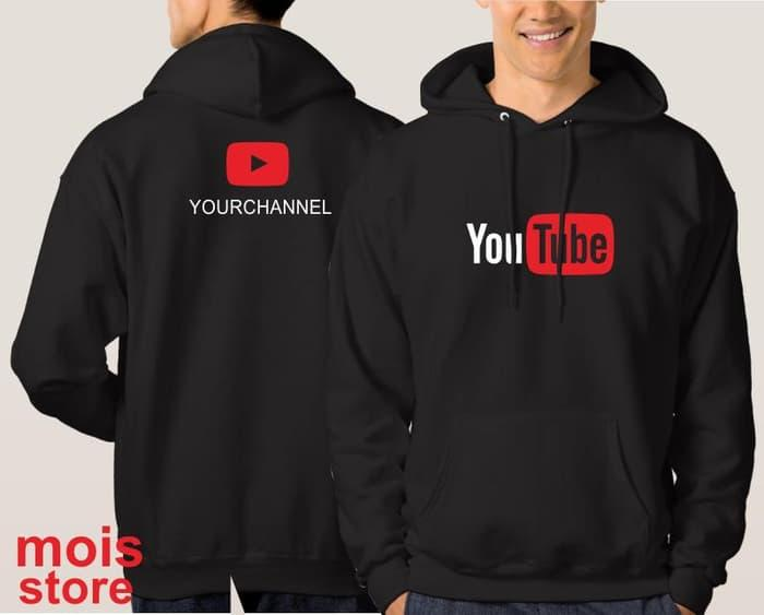 PROMO !! [Eksklusif] Jaket Hoodie YOUTUBE hitam - Custom Teks Nama Channel