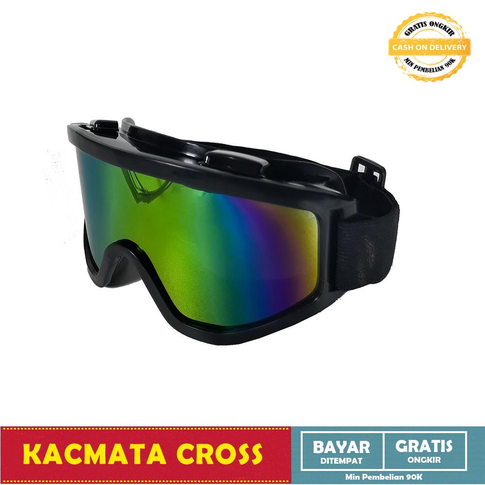 Kacamata Goggles Ski Helm Cross Trail Downhill Airsoftgun Anti Silau - List - Hitam Rainbow By All Item Store.