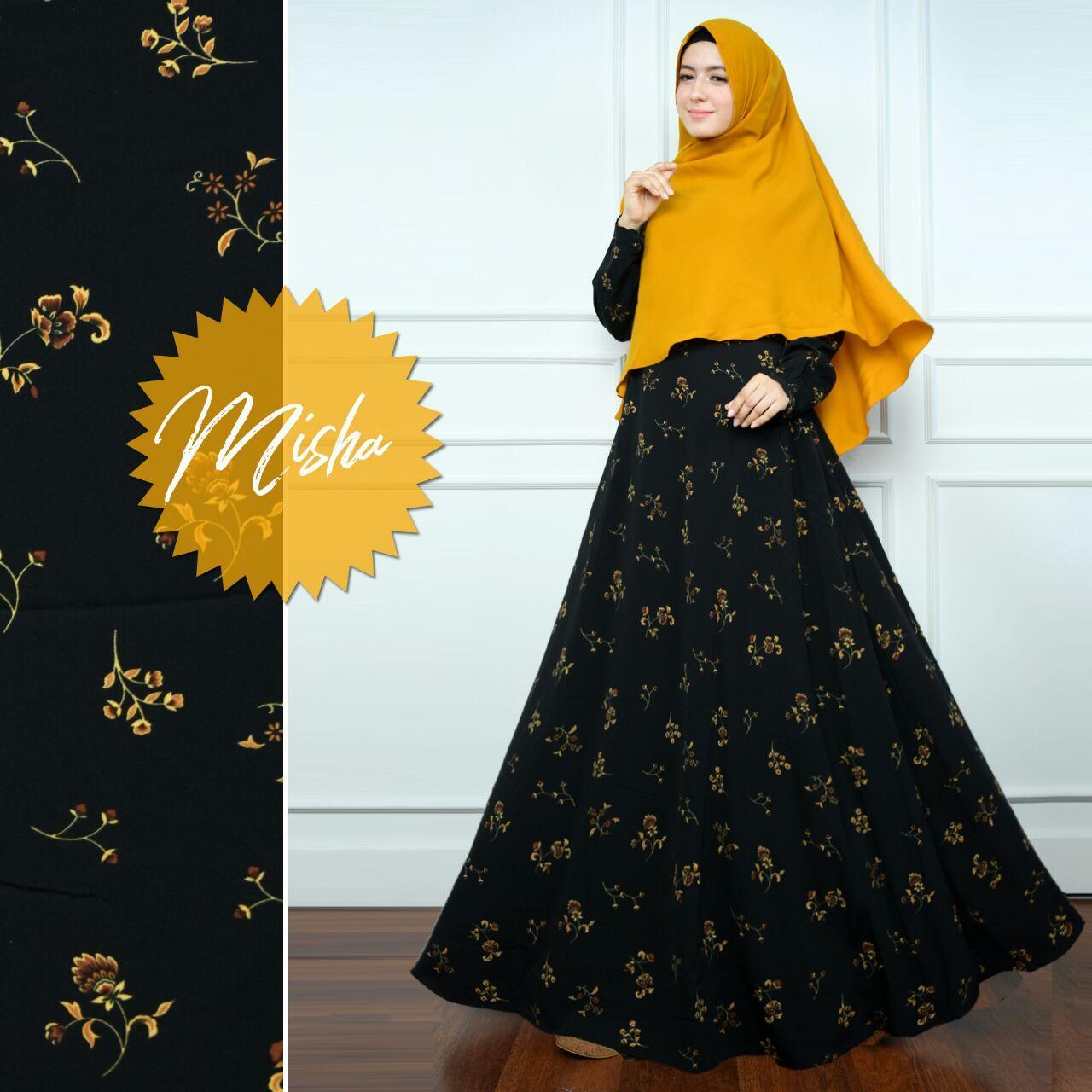 ... Kemeja Murni Atasan Wol (Merah Anggur (Leher. Source · Anggun Gamis – Fashion Wanita - Gamis Muslimah – Bahan Monalisa – Misha – hitam