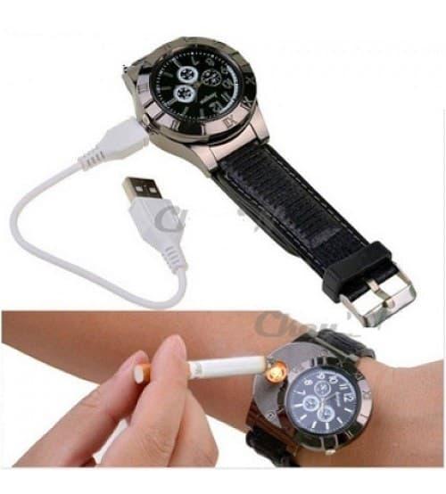 JUAL Jam Tangan Pria Korek Elektrik USB Hadiah Api Rokok Quartz Casio OULM