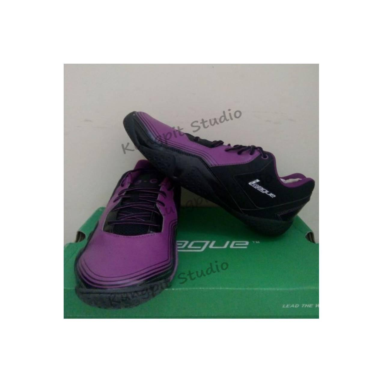 Sepatu Basket original League Zero G Low warna ungu hitam