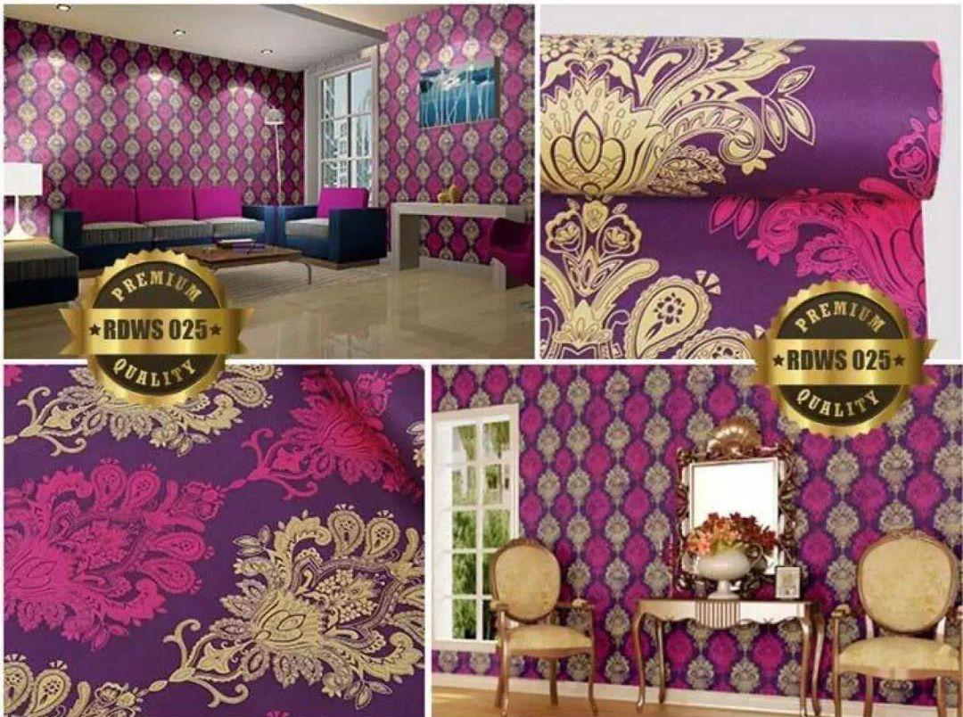 Wallpaper Stiker Dinding Motif Dan Karakter Premium Quality Size 45cm X 10M Batik Merah Gold