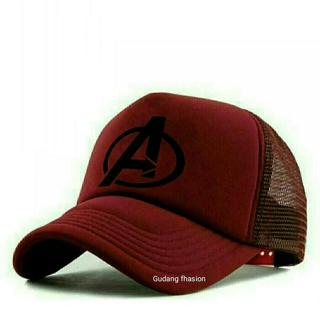Topi Premium Trucker Jaring Logo A Avengers Marun