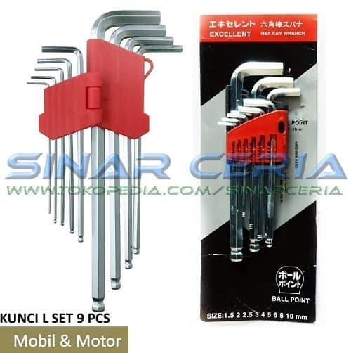 TERLARIS Kunci L Hex Key Panjang Set 9 Pcs 1,5-10 mm Kunci