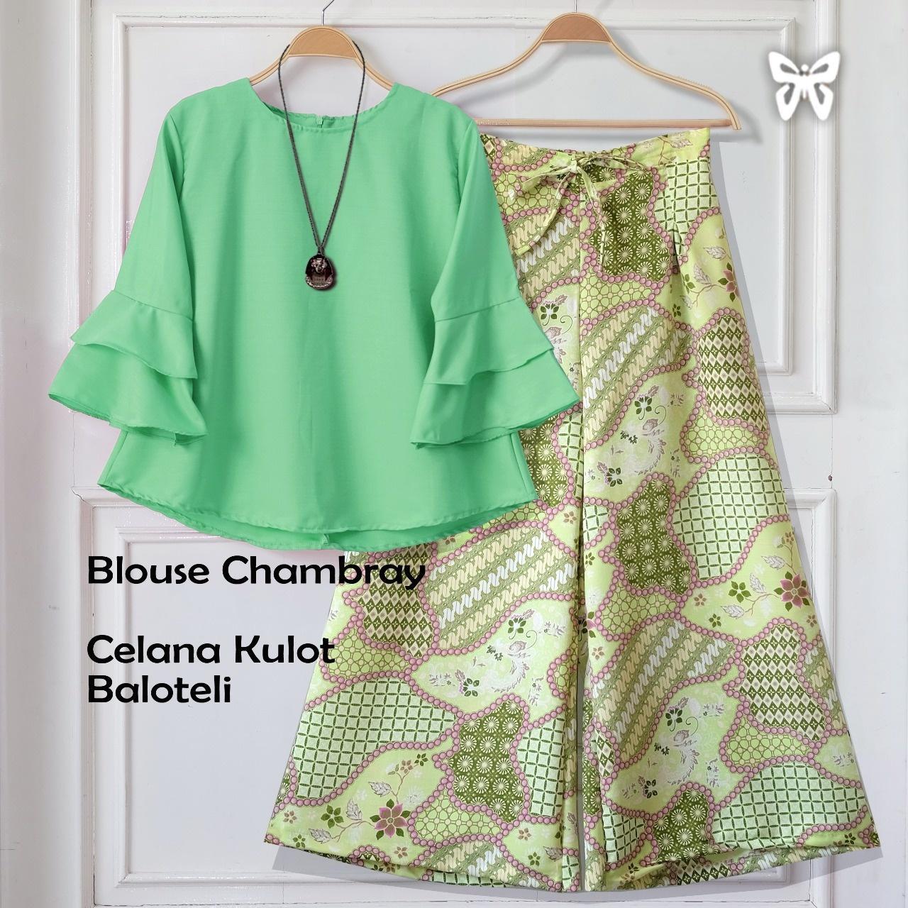 Flavia Store Setelan Wanita Batik FS0734 - HIJAU TOSCA / Stelan Muslimah / Atasan Baju Blouse Kemeja Lengan Panjang Terompet Bawahan Celana Kulot Muslim / Srshania