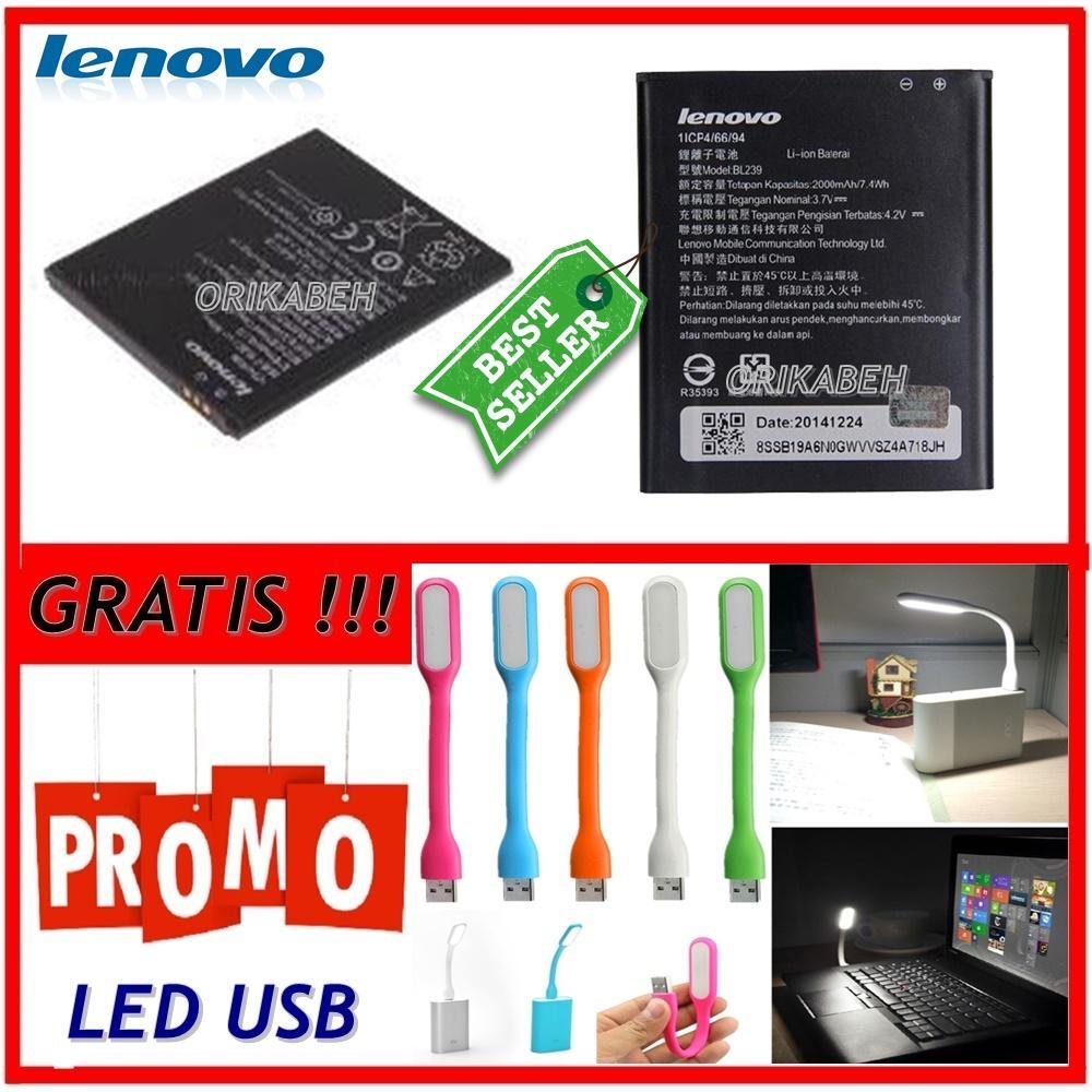 Lenovo Baterai / Battery BL239 Original For Lenovo A399 / A3500 / A330E Kapasitas 2000mAh + Gratis Lampu Led Usb ( orikabeh )