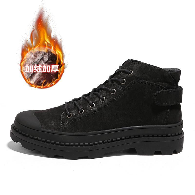 Besar Kecil Luar Rumah Kulit Pria Salju Sepatu Boot Sepatu Potongan Rendah  Sepatu Pria (Hitam 59abf68793