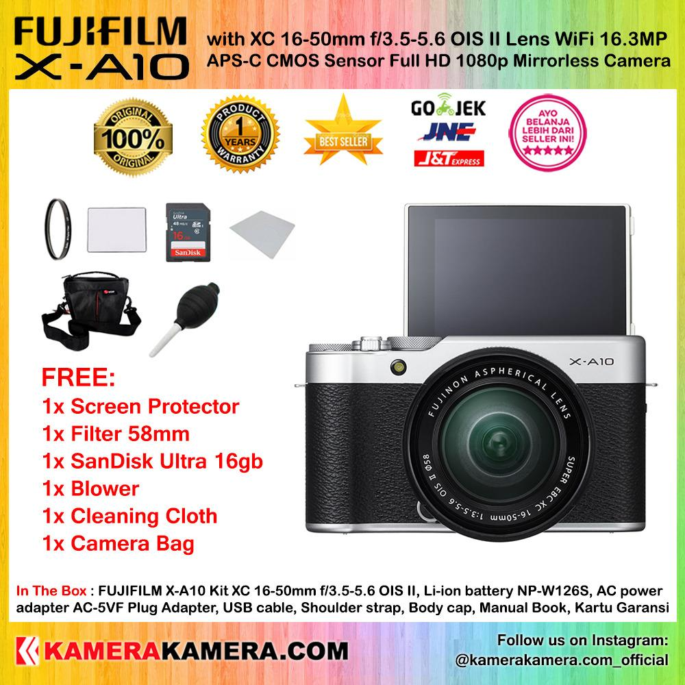 FUJIFILM X-A10 Kit XC 16-50mm OIS II SILVER WiFi 16MP (Garansi 1th) + Screen Guard + SanDisk Ultra 16gb + Filter 58mm + Air Blower + Cleaning Cloth + Camera Bag