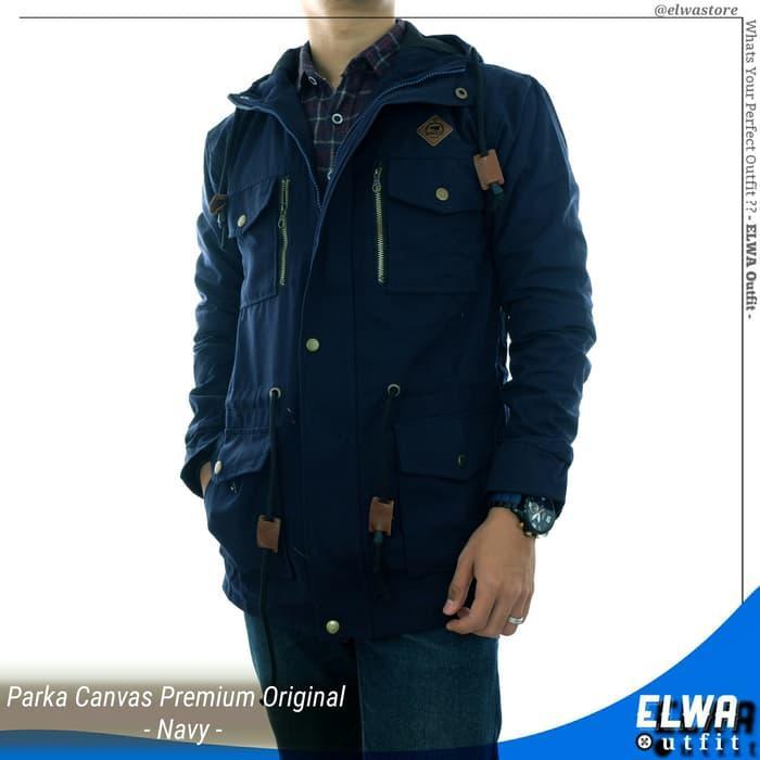 Jaket Gunung Parka Canvas Pria / Cowok Original Distro - Navy Terlaris di Lazada