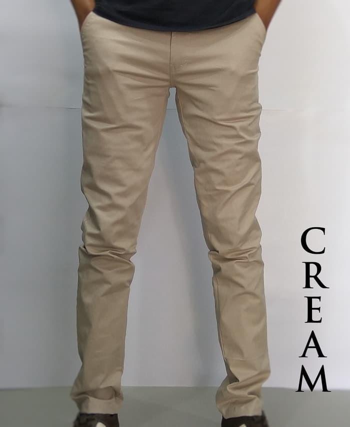 Celana Chino Panjang Pria Ukuran Jumbo 33-38 Warna Abu-Abu dan Hitam