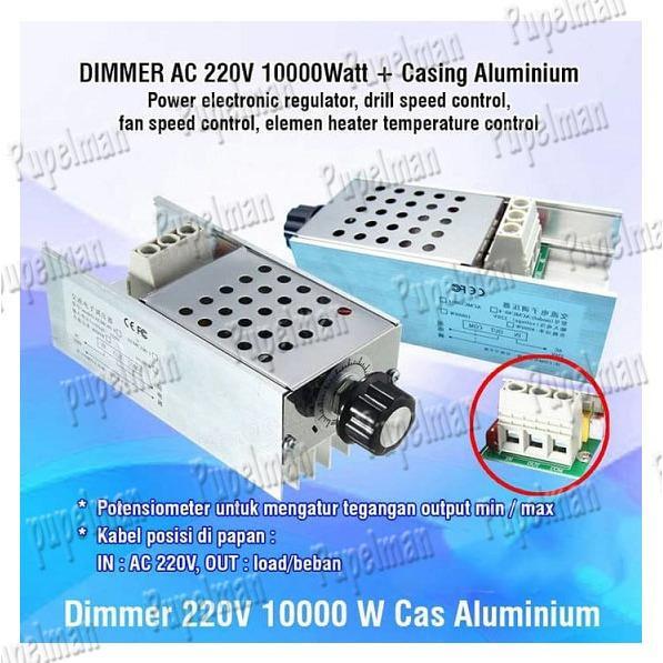 10000 Watt Dimmer Speed rpm Motor AC 220 Volt Speed Controller 220V PWM Regulator Pengatur Tegangan Elektronik Regulator Speed Controller Dimmer Potensiometer