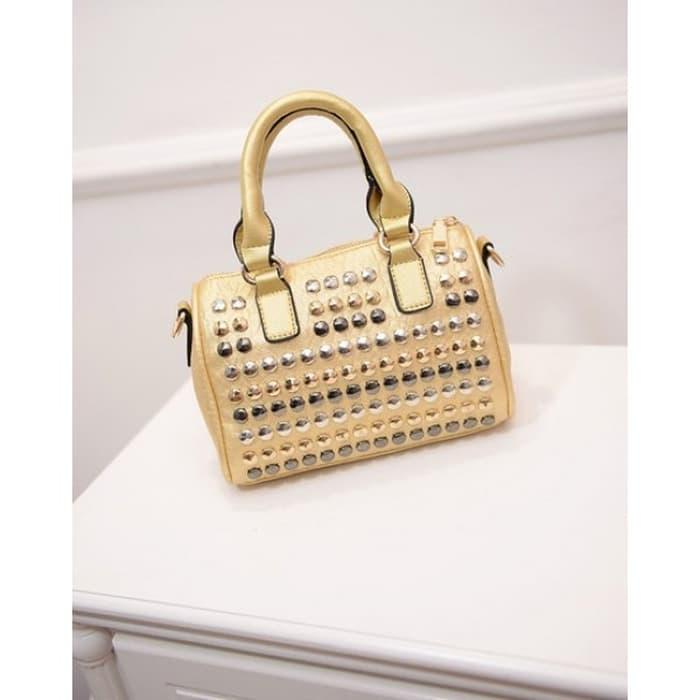 best seller / 14582 TAS HOBO BAGUETTE MINI KECIL LUCU STUDDED BULAT ZIPPER GOSH OOTD/ tas branded / tas selempang import / tas gosh original