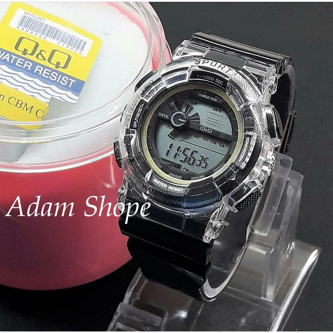 Q&Q Digital - Jam Tangan Anak Pria & Wanita / Remaja QQ 1708 AS - Transparan Water Resist 10 M - Bahan Tali Rubber - Model Fashion