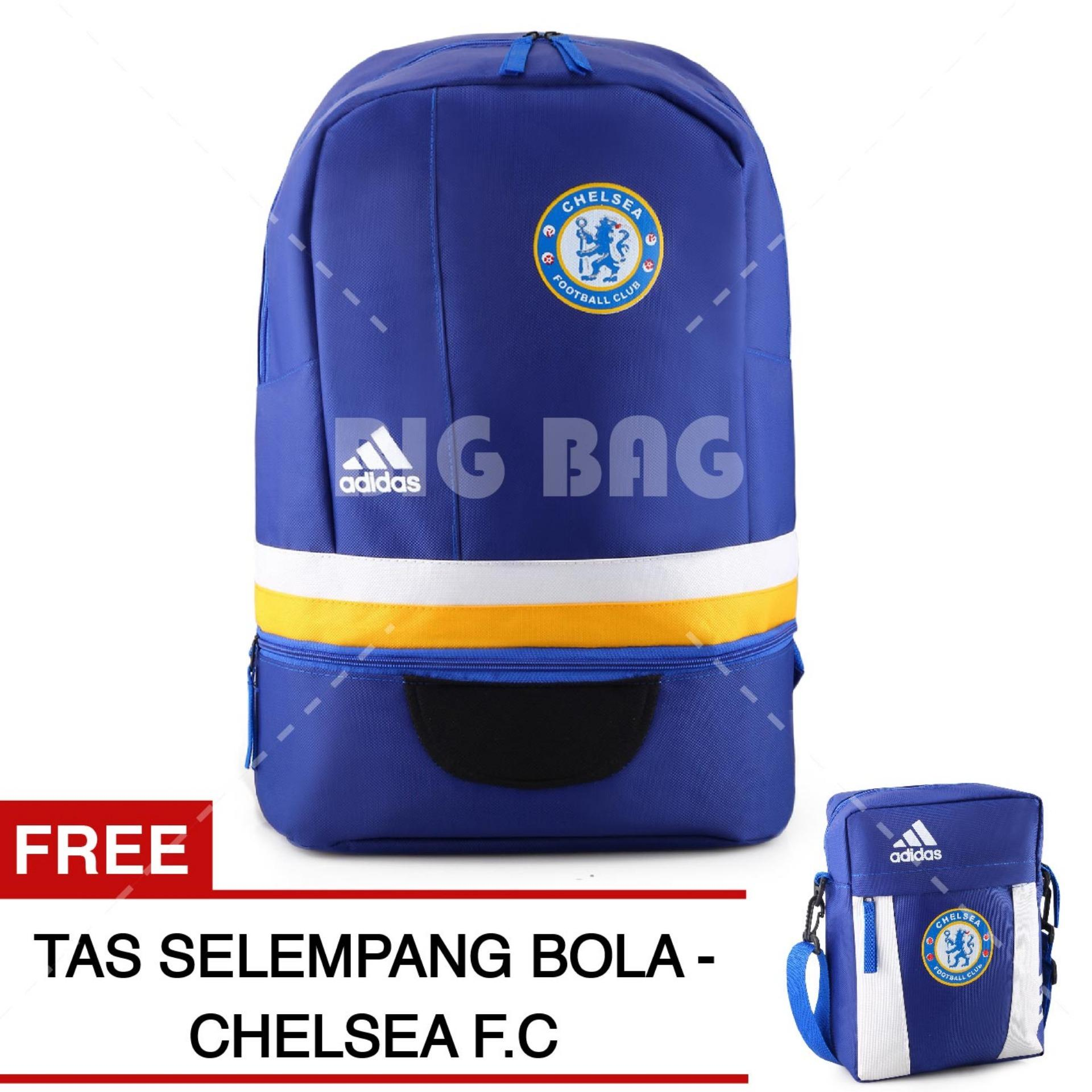 Tas Ransel Adidas Bola Pria Chelsea FC Laptop Backpack Men Soccer Editions - Blue + Raincover + FREE Tas Selempang Adidas Chelsea FC - Blue