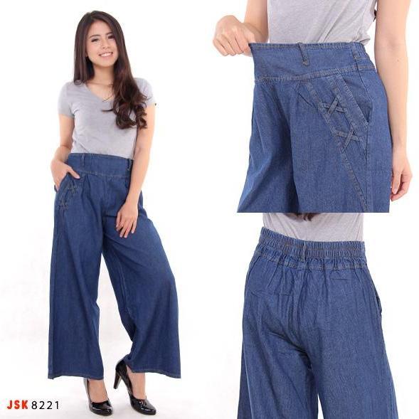 Celana Kulot Panjang Jeans Pinggang Karet  Modis N Trendy JSK 8219 8220 8221 8222