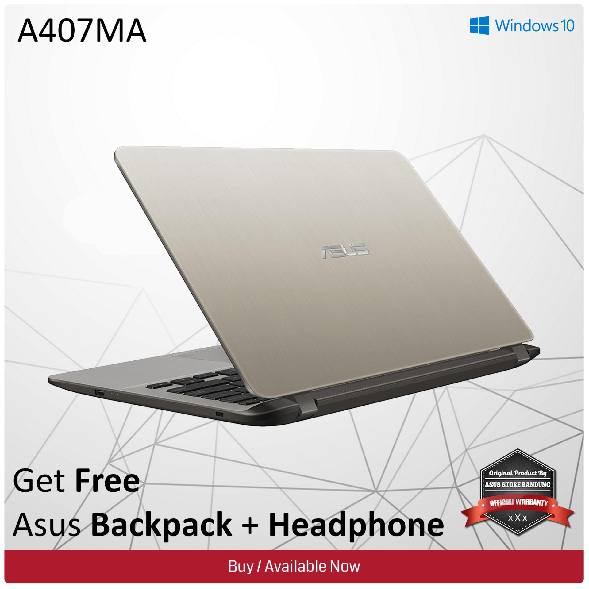 Asus A407MA-BV002T [90NB0HR2-M00520] Celeron N4000 Fingerprint 1TB HDD 4GB RAM Win 10 + Headphone + Backpack